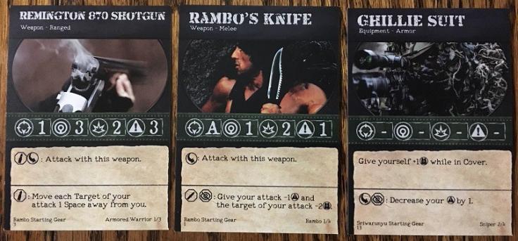 Rambo The Board Game Gear Cards